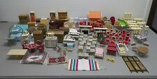 VINTAGE MINIATURE DOLL HOUSE FURNITURE LOT OF 100+ PIECES IDEAL MARX TOMY GOOD