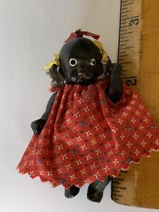 """1930s 2.5"""" Composition BLACK African American DOLL Strung With Hair & Bows JAPAN"""