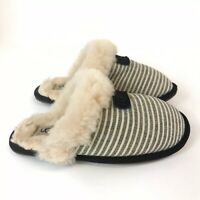 Genuine Uggs Navy Stripe Scuffette Ladies Slip On Slippers Shoes Size US6 UK4.5
