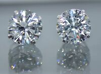 14K Solid White Gold Round Cut Push Back Stud Earrings 1(TCW)