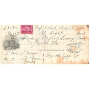 ANTIQUE 1900 OXFORD MICHIGAN $50 CHECK W/ELK VIGNETTE !-d2892unx