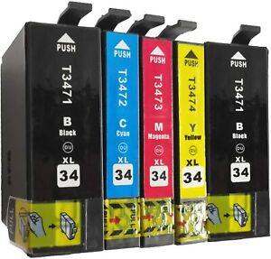 5x Ink Cartridges for Epson 34XL WorkForce Pro WF-3720DWF WF-3725DWF Non-OEM