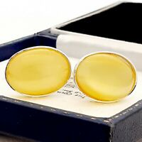 Vintage 1950s Citrus Yellow Moonglow Glass - Oval Silver Plated Cufflinks