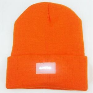 5 LED Orange Red Knitted Hat Winter Autumn Warm Beanie Cap For Climbing Cycling