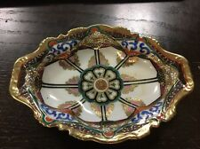 """Vintage Hand gold leaf Painted Nippon China Relish Serving Dish 7"""" L Beautiful"""