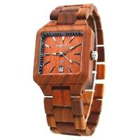 BEWELL Luxury Men wood Watch Quartz Date Display Square Dial Wooden Band Watches