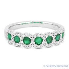0.73ct Green Emerald & Diamond Anniversary Ring / Wedding Band in 14k White Gold