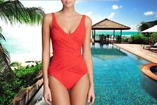 GOTTEX Beach Goddess Cherry Red V-neck #14BO-158 Slimming BATHING Swimsuit Sz 10