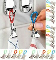10pcs Tea Towel Clips Hand Clip Hooks Hanging Hangers Loops cloth Kitchen Cafe