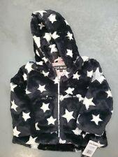 Nwt Steve Madden 18 Months Black Cream Zip Up Hood Star Jacket Kangaroo Pocket