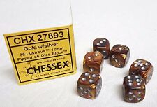 PLASTIC DICE - *SIX* 12mm LUSTROUS GOLD w/SILVER PIPS! SMALL SIZE, MY FAVE COLOR