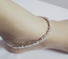 Indian Ethnic Anklet Pair Payal SilverTone Anklet Women Barefoot Fashion Jewelry