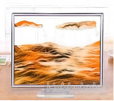 1pcs orange Moving Sand Glass Picture Home Office Table Decor Birthday Xmas Gift