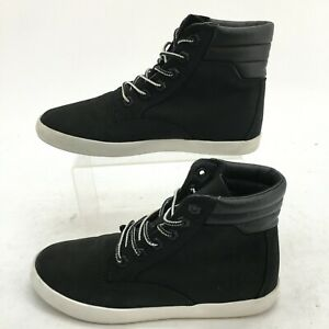Timberland Dausette Sneaker Boots Womens 6.5 Black Leather Ankle Top Casual A1VA