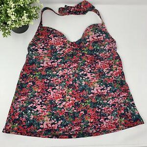 Lands' End Tankini Top Halter Swimsuit Pink Floral Print Bathing Suit Swim 6