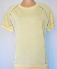 MARNI BEIGE/YELLOW WOOL POCKET SHORT SLEEVES TOP ROUND NECK THICK KNIT HEM SZ 44