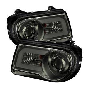 Fit Chrysler 05-10 300C Smoke DRL Tube LED Projector Headlights C Sedan C SRT-8