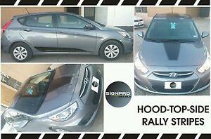 Rally Stripe Kit Pinstripe Fits Hyundai Accent 2011-2016 Hood Top Rocker