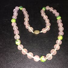 """VINTAGE ROSE QUARTS NECKLACE WITH VENETIAN BEARDS & A SILVER CLASP 25 1/2"""""""