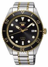Seiko 5 Men's Automatic watch, Black/Gold Dial, Steel Bracelet SRPB94K1 BNIB