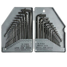 Allen Wrench Hex Key 30pc Set SAE METRIC Long Short Arm with Case Steel
