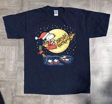 Vintage Peanuts Snoopy Woodstock Christmas Santa's Sleigh T-Shirt Mens Large