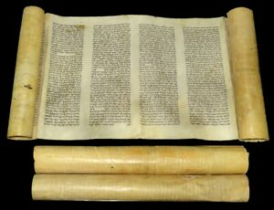 Complete Ancient Esther Scroll Megillah Handwritten On Parchment 150 yrs Europe.