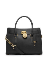Michael Kors Hamilton Satchel Bag with Gold Chain - Black