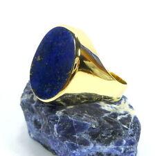 Ovale Echtschmuck aus Gelbgold mit Lapis Lazuli Ringe