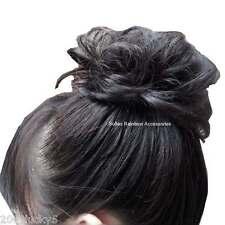 Jet Black Scrunchie Hair Piece Ponytail Bun Hair Extensions Hair Wrap Elastic