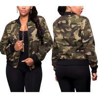 Women Long Sleeve Camo Camouflage Bomber Jacket Army Zipper Outwear Cropped Coat