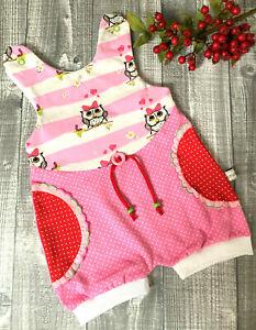 Gr. 68 kurzer Strampler Romper Strampelanzug Baby Mädchen Body Handarbeit neu