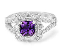 Princess Cut Amethyst 925 Sterling Silver Ring Natural Gemstone Size 4-11