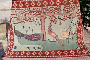COLLECTORS' PIECE Vintage Peacock Peafowl Birds Pictorial Wall Hang Rug