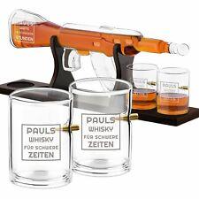 Whisky Flasche in Gewehrform + 4 Whiskygläser Männergeschenke mit Gravur 800ml