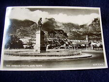 OLD REAL PHOTO-PC: CAPE TOWN~VAN RIEBECK'S STATUE~ca 1949~ANIM + OLD CARS