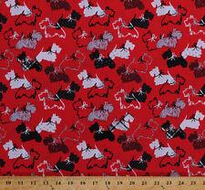 Scottie Dogs Scottish Terrier Animals Red Cotton Fabric Print BTY D676.16