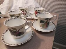 ROSINA QUEEN'S BONE CHINA HOOKER'S FRUIT SET OF 5 FOOTED CUPS & SAUCERS