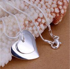 Damen Halskette mit Doppel-Herz Anhänger 925 Silber versilbert Geschenk-Idee