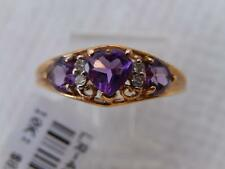 10k Heart Cut AMETHYST Diamond RING I Love You Size 7 1/4  Estate NWT MINT