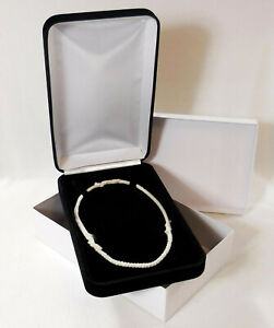 Elegant Black Velvet Jewelry Presentation Gift Box for Beads Pearls Necklaces ++