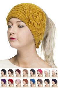 ScarvesMe C.C Womens Flower Pendant Glitter Cable Knit Headband Headwrap Hat Cap