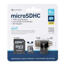 PLATINET 4 in 1 microSD 8GB Micro CL10 + CARD READER + OTG + adattatore SD 42226