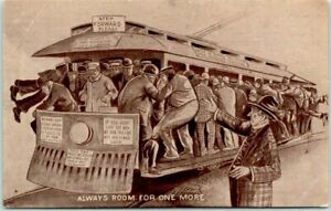 "1910s TROLLEY Comic Humor Postcard Loaded Streetcar ""Always Room for One More"""
