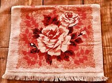 VTG Cannon Pink Floral Roses Terry Cloth Hand Bath Towel wash red Mid Century