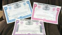 SET 3  Railroad Stock Certificates Penn Central Stock Pennsylvania Railroad