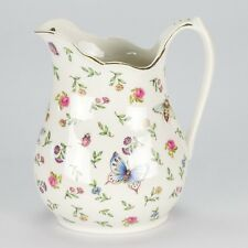 NEW Vintage Style porcelain water Jug Pitcher Flower butterfly Shabby Chic Rose