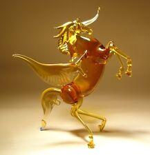 "Blown Glass ""Murano"" Art Figurine Brown Rearing Horse PEGASUS"