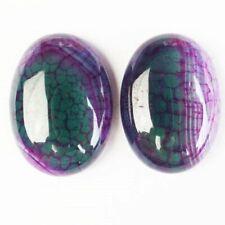 2Pcs 25x18x6mm Purple Green Dragon Veins Agate Oval Cab Cabochon D62110
