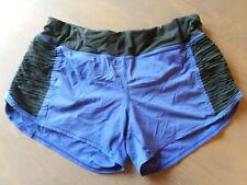 "Lululemon ""Run Speed Shorts"" Blue/Black Flat Pleats Reflective Zip Pockets 8"